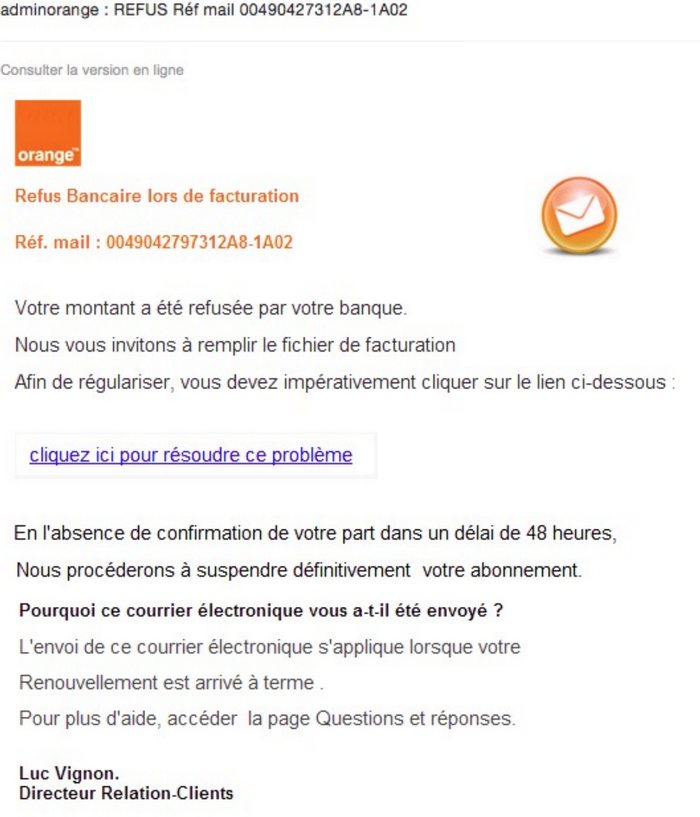Message étrange d'orange.fr