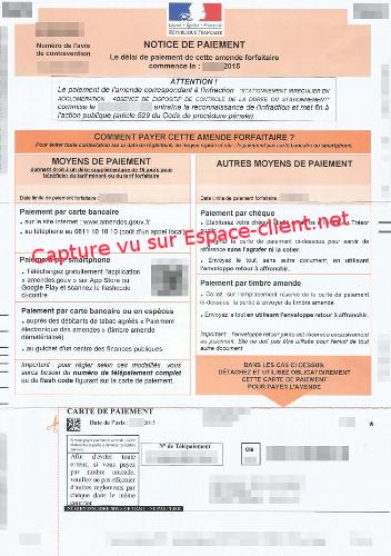 Notice de paiement de votre amende
